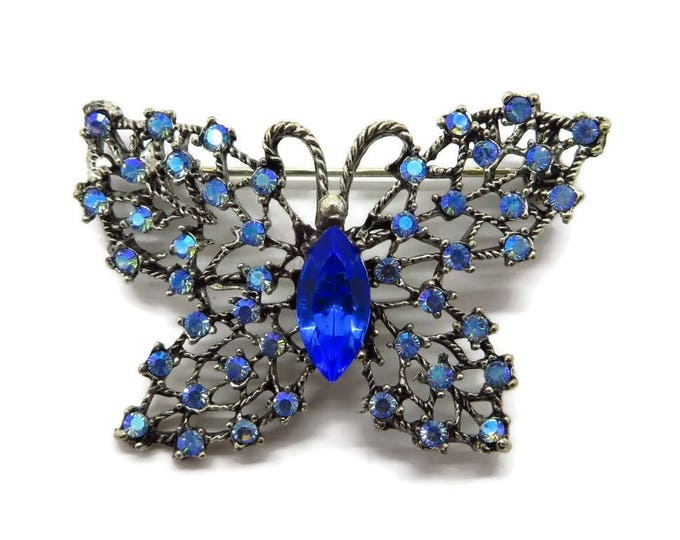 Weiss Blue Rhinestone Brooch, Vintage Butterfly Brooch, Signed Weiss Sapphire and AB Rhinestone Pin