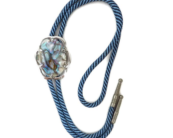 Abalone Shell Bolo Tie, Vintage Blue Striped Tie, Silver Tone Framed Abalone Pendant