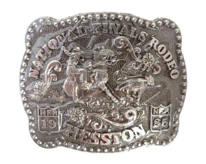 Vintage Rodeo Belt Buckle, Hesston National Finals Rodeo 1985, Collectors Silver Tone Fred Fellows Buckle