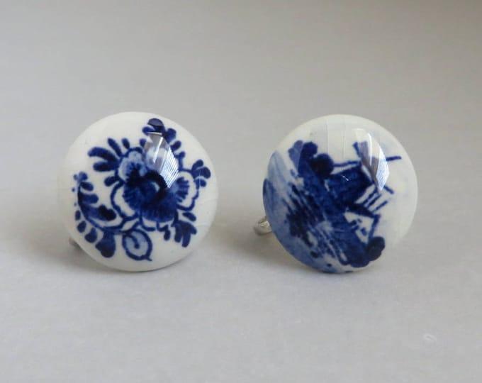 Vintage Delft Porcelain Earrings, Hand Painted Dutch Screw Back Earrings
