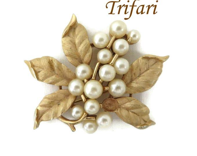 Trifari Faux Pearl Flower Brooch, Vintage Matte Gold Tone Signed Trifari Pin, Missing Pearl