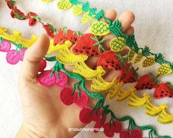1-5 yards strawberry/pineapple/cherry/banana embroidered trim.