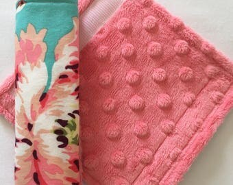 Car Seat Strap Covers ~ Cotton and Minky Car Strap Covers ~ Baby Girl ~ Amy Butler ~ Love Bliss Bouquet ~ Coral ~ Lime Green