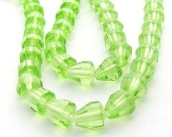 Light Green 6x6.5mm Drop Czech Glass Fire Polished Beads 20pc #1050