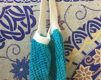 Hand knit market bag