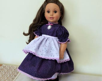"""18 inch Doll Dress,Pantaloons,Apron/Colonial American Doll Civil War Day Dress/AG Clothes/18"""" Girl doll outfit/Undergarments/free shipping"""