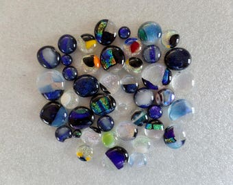 Assorted Fused glass Cabochons with Dichroic Accents Set 1