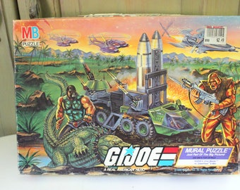 Vintage G.I. Joe Mural Puzzle Scene 4 Croc Master vs Spearhead & Max G I Joe Battles Cobra Command Complete 221 Pieces 1988 Hasbro