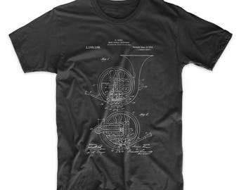 French Horn Patent T Shirt, Musician Gift, Band Shirt, Band Director Gift, PP0188 Z1016