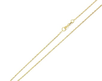 Men Women 14K Yellow Gold Chain 0.8mm Singapore Chain Necklace(DLN131-171)