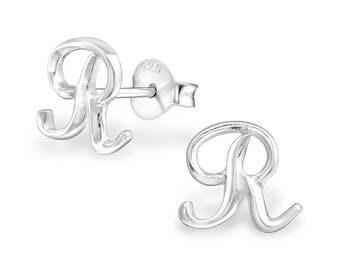 925 Sterling Silver Small Script Initial Letter R Stud Earrings - ES-JB9097