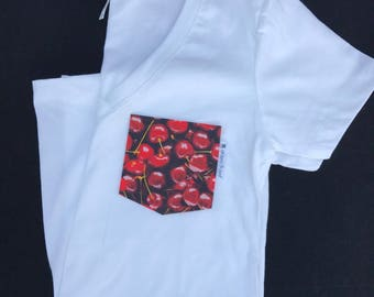 Cherry Bomb Pocket T-shirt,  Pocket Tee Shirt , Pocket Tee