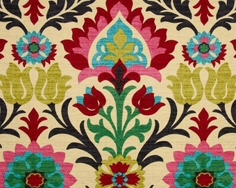 SHIPS SAME DAY Modern Ikat Fabric - Upholstery Fabric by the Yard - Red Pink Ikat Fabric - Ikat Drapery Fabric by the Yard