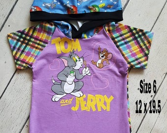 Girls size 6 Upcycled Hooded Tee  Tom and Jerry