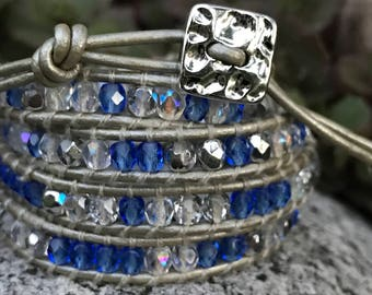 4 Wrap Bracelet With Blue, Silver and Crystal Beads Woven Onto Silver Pealized Leather - Chan Luu Style