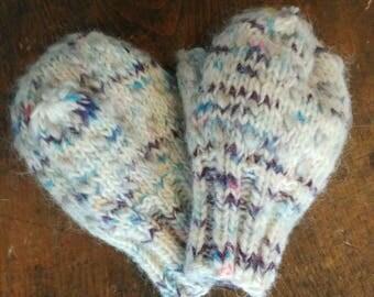 Thrum Mittens, hand knit, Hand dyed, eco friendly, Alpaca Yarn