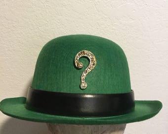 Green Riddler Costume Derby Bowler Hat