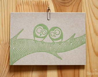 Owl Craft Card-Noctuidae postcard on craft paper-letterpress