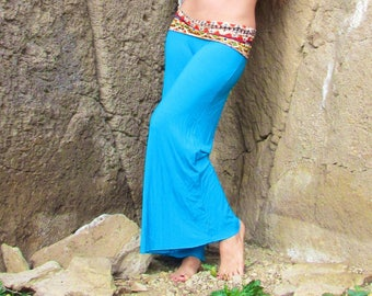 WIDE LEG flowy southwest palazzo gaucho yoga resort lounge beach pants with fold over tribal print skirt waistband