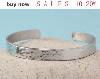 Custom / Personalized Bracelet- Hand Stamped Cuff Bracelet Aluminum Silver / Brass Gold / Sterling Silver Hammered/Shinny bangle bracelet