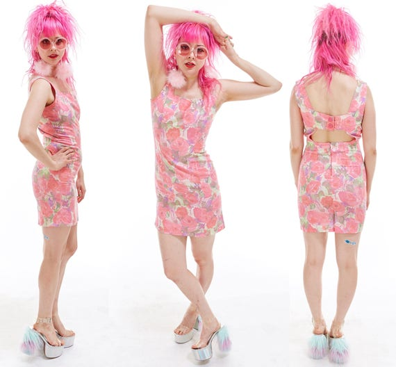 Vtg 80s 90s Baby Pink Watercolor Floral Rose Print Mini DRESS Peekaboo CUT OUT Boho Festival Retro Kitsch Grunge Wiggle Shift Soft Grunge