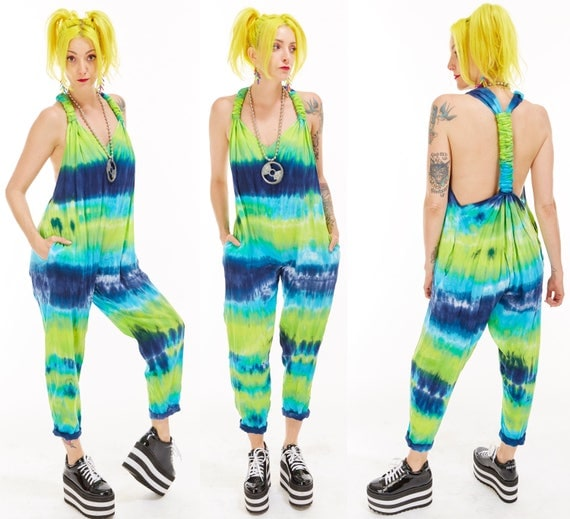 Vtg 90s NEON Tie Dye JUMPSUIT Onesie One Piece RAVE Club Kid Day Glo Colorblock Beach Coverup Resort Baggy Grunge Backless Overalls Sea Punk