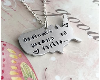 Long Distance Map Necklace Hand Stamped Usa Map Necklace Custom Country Necklace Your