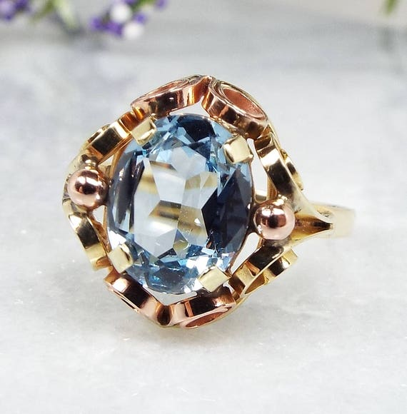 Antique French Art Nouveau 14ct Yellow Rose Gold Ornate Blue Topaz Ring / Size Q 1/2