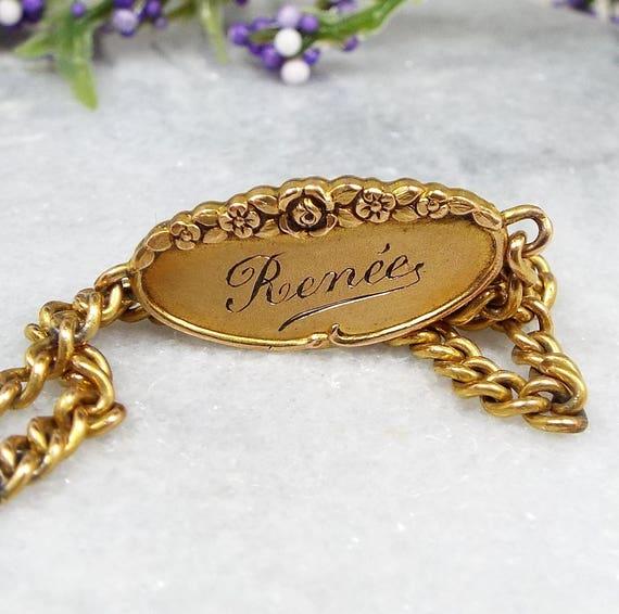 Antique / Art Nouveau French Fix 18ct Gold Filled 'Renée' Name ID Identity Bracelet