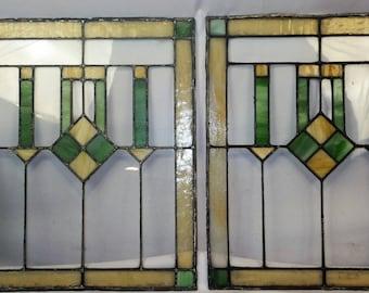 Pair Antique Vintage Craftsman Stained Glass Windows c1915 Oak Park, IL Restored