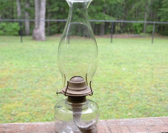 Vintage Clear Glass Oil Lamp Simple Minimal Design Accent Lighting Cottage Decor PanchosPorch