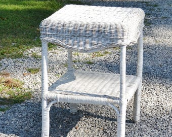 Vintage White Wicker Side Table Chippy Painted Furniture Porch Bedroom  Night Stand Country Decor PanchosPorch