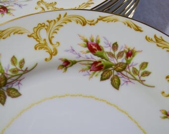 Vintage Kings Court China Rose Bud Dinner Plate Set of 8 Pink Red Rose Floral Pattern 4005 Replacement Japan PanchosPorch