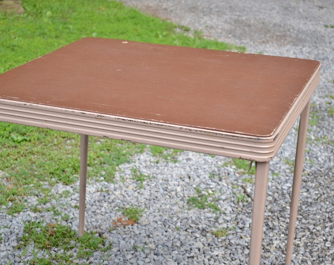 Vintage Folding Card Game Table Metal Vinyl Top Durham Table Number 34N Dining Table PanchosPorch