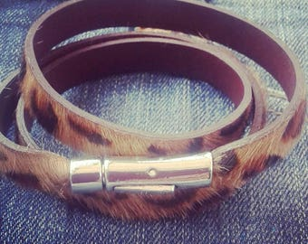Leopard hair on leather wraparound bracelet, leopard print bracelet, gifts for her,