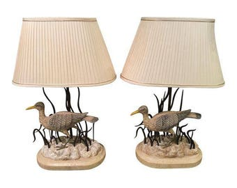 Pair of Maitland Smith Designer Heron Bird Lamps