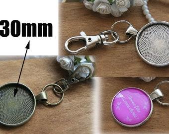 Blank key rings 30mm tray DIY  jewelry making kits key rings settings antique bronze vintage silver KA1022