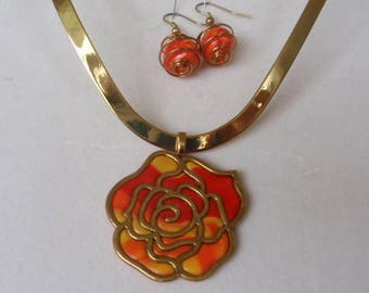 Red, Orange & yellow rose pendent and earrings