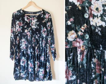 Vintage floral crushed velvet smock dress M