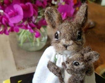 felted mama rabbit and baby bunny figurine, art doll. OOAK needle felted rabbit. new baby, new mother/mom gift. handmade woodland animal.