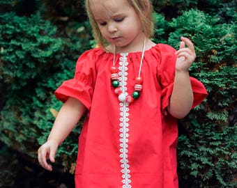 Girls Christmas Dress, Girls Christmas Outfit, Girls Red Dress, Baby Christmas Dress, Toddler Dress, Baby Girls Dress, Red Dress, Lace Dress