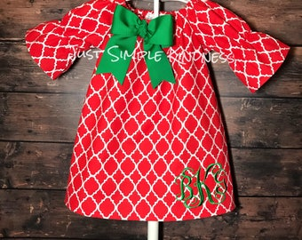 Girls Christmas Dress, Baby Girl Christmas Dress, Girl Christmas outfit, Monogrammed Christmas Dress, Toddler Girls Dress, Christmas Dress
