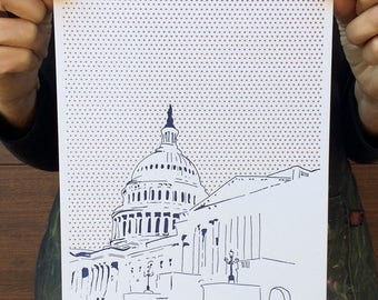 "Washington DC Letterpress Poster | United States Capitol | navy & copper 8"" x 10"" poster"