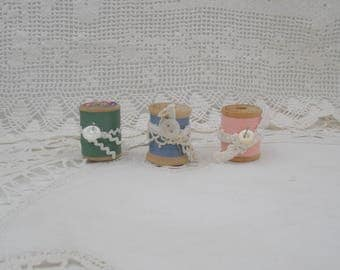 Vintage Wooden Spools of Thread-Set of Three- Blue, Green, Pink
