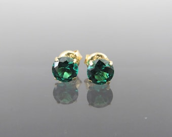 Vintage 18K Solid Yellow Gold Round cut Emerald Stud Earrings