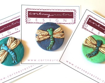 Dragonfly Circle polymer clay pin brooch original art by Cortney Rector Designs