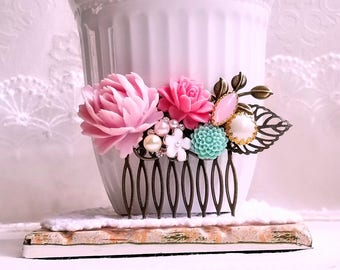 Soft pink peony turquoise flower comb Shabby chic flower comb Enamel flower and pearl assemblage Pink and Turquoise Rustic hair comb