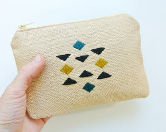 Hand embroidered geometric detail purse/pouch with zip
