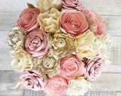 Paper Flower wedding bridal bouquet alternative book blush dusky pink vintage lace rose peony