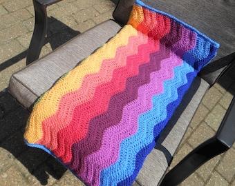 Colorful throw blanket, throw blanket boho, afghan blanket, bright colors of summer, rainbow blanket, large crochet blanket, lap blanket